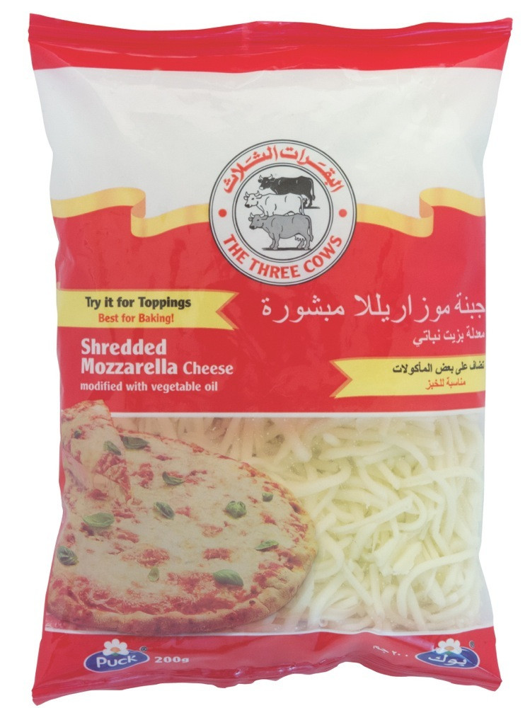 3 COWS SHREDDED MOZARELLA 200 G