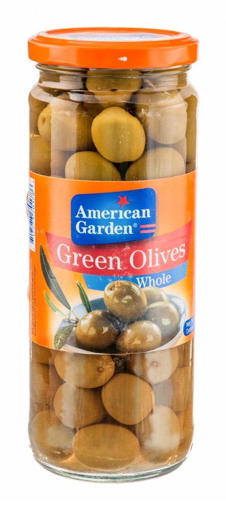 AMERICAN GARDEN GREEN OLIVES WHOLE 450G