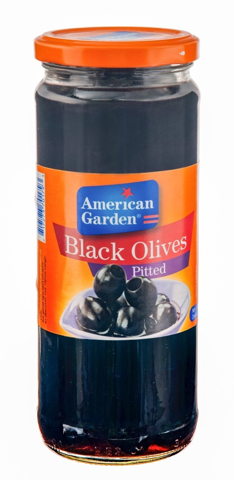AMERICAN GARDEN BLACK OLIVES PITTED 450G
