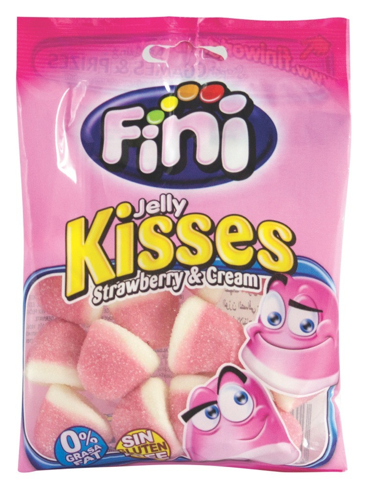 FINI- JELLY KISSES WITH STRAWBERRY & CREAM - 100 G