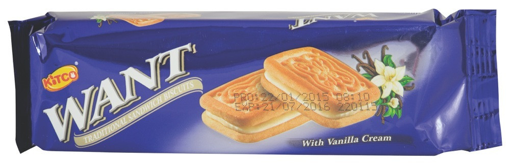 WANT- SANDWICH BISCUITS WITH VANILLA- 90 G