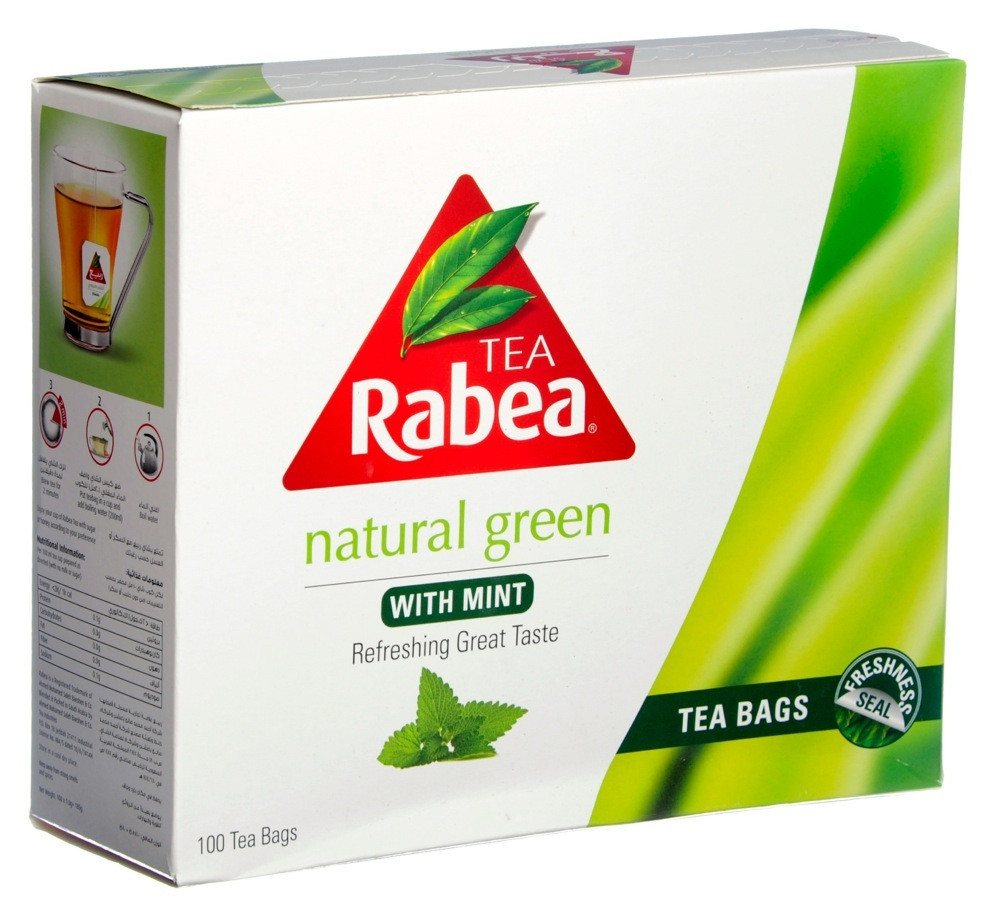 RABEA - GREEN TEA WITH MINT- 100 BAGS