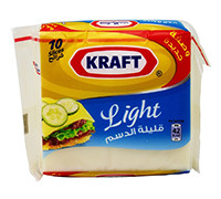 KRAFT CHEDDAR CHEESE SLICES LIGHT 200G