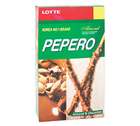 LOTTE PEPERO- ALMOND CHOCOLATE BISCUIT STICKS- 8 PACKS - 256 G