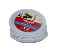 """ONCOST ROUND WHITE PLASTIC PLATE 10"""""""