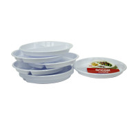"""ONCOST RND WHITE PLASTIC PLATE-3COMP 10"""""""